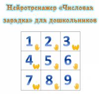 """НЕЙРОТРЕНАЖЕР «Числовая зарядка»  для дошкольников"""". Числа от 1 до 20"""